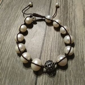 Silpada rugged pearl bracelet with sterling accent